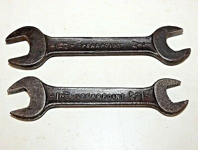 VINTAGE ~ 2 x  SPEARPOINT MOTORCYCLE TOOLKIT A/F SPANNERS ~ MADE IN ENGLAND