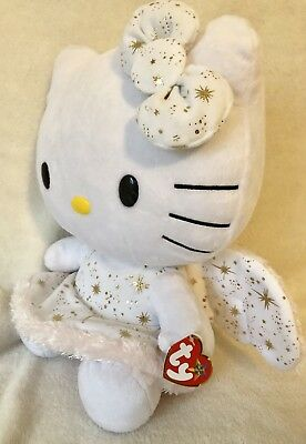 With Tag - Pink Gold Ty Beanie Hello Kitty Christmas Angel Plush