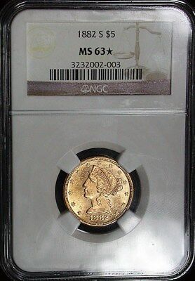 1882 s NGC MS63* Star Semi Proof-Like Liberty Head $5 Gold Piece (dp47)