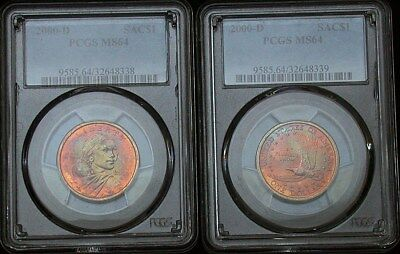 Lot of (2) 2000 d  PCGS MS64 Colorful Toned Sacagawea Dollars (tm319)