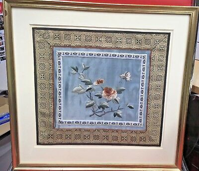 Framed Embroidery Silk with Flowers and Butterly and exquisite borders. Unusual
