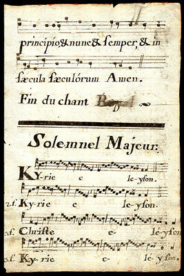 The Gloria & The Kyrie 1778 French Hymnal Manuscript Leaf  French & Latin