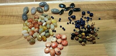Vintage Job Lot of Glass & Gemstone Beads from old necklaces