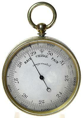 Gilt brass English pocket aneroid barometer and altimeter fully working