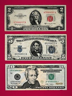 RARE USA NOTES $2-1953 C Red Seal, $5-1934 D Blue Seal, & $20 -2009 STAR (Green)