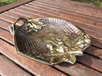 Stunning Small Ornate Antique Vintage Brass Two Handled Dish.