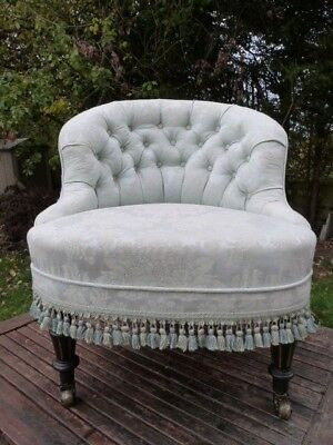 Beautiful Small Antique Upholstered Button Back Ladies Boudoir Bedroom Chair