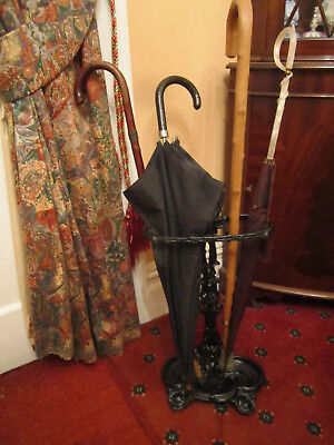 Old Antique Edwardian Heavy Metal Umbrella Walking Stick Stand made England 1905