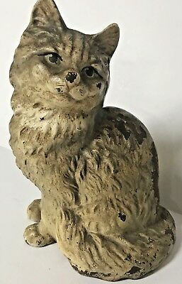 Antique HUBLEY CAST IRON DOORSTOP Persian SITTING CAT 302 Stamped