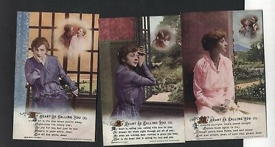 """Bamforth Song Card Set 4959.1,2,3."""" My Heart Is Calling You """" Soldier,"""
