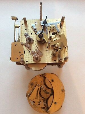 Two Vintage Franz Hermle  Brass Clock Movements 341-020 & 130- 070 PARTS/REPAIR