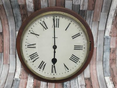 """Vintage """"Station"""" WIND UP WALL CLOCK Wooden Surround Roman Numeral  - B13"""