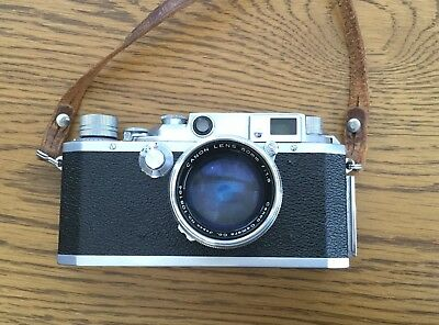 Canon 11-F Rangefinder E-P 35mm Film Camera w/Leather Case f:1.8 Lens
