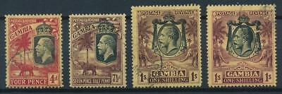 [51183] Gambia 1922-27 lot 4 good Used Very Fine stamps