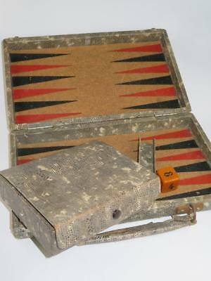 Antique Backgammon Game in Wooden Case Snake Skin Cover Cork Playing Board