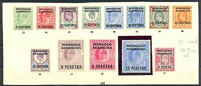 English Colony -Morocco Agencies 1907 Sg# 112/124-- Cv £ 240-- * Mh Vf