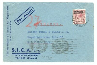 English Colony Morocco Agencies 1937 Airmail Cv To Vienna -Fine