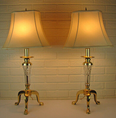 Pair of Hollywood Regency Neoclassical Brass & Crystal Andiron Style Table Lamps