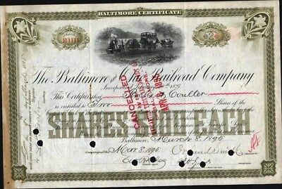 Baltimore And Ohio Railroad Co, 1895, Cancelled Stock Cft. (Low #1111)
