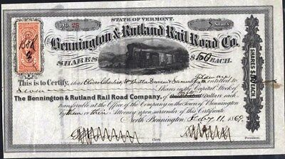 Bennington & Rutland Rail Road Co Of Vt., 1869, Cancelled With Rev. Affixed