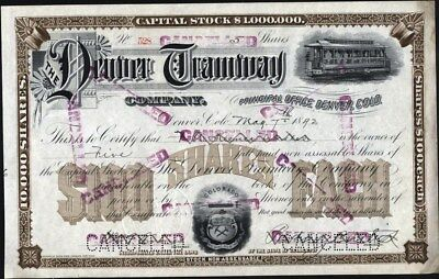 Denver Tramway Co Of Colorado, Cancelled And Desirable Stock Certificate