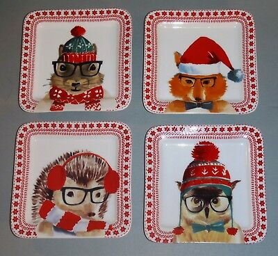 new 4 Ciroa Celebrate Christmas Forest Animals Appetizer Holiday Plates