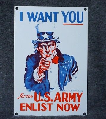 Vintage I Want You Porcelain Sign Gas Station U.s. Army Enlist Now Wwi Wwii