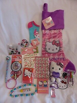 Hello Kitty Christmas Stocking With 16 Piece Stuffers Gift Set Lot NEW