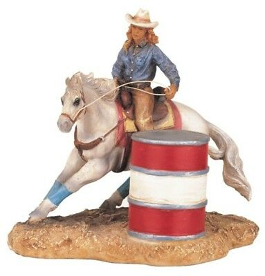 Rodeo COWGIRL FIGURINE White Horse Barrel Racing Hat Country Western Decor