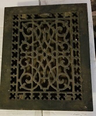 Antique Cast Iron Floor Grate Ornate design 12x10