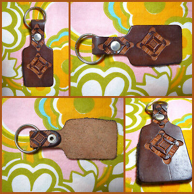VTG 1970s Retro Hippie Groovy Tool Leather Key Chain Ring Flower Square Shell