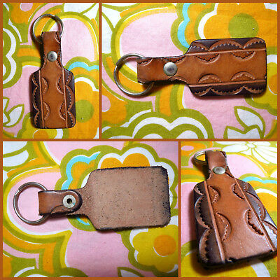 VTG 1970s Retro Hippie Groovy Tool Leather Key Chain Ring Crescents Scallop