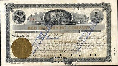 Red Hill Mining Co Of Arizona, 1906, Cancelled Stock Certificate