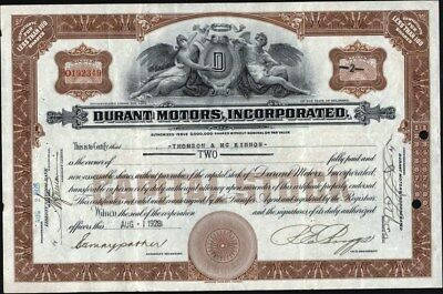 Durant Motors, Incorporated, 1929, (Iconic Auto) Uncancelled Stock Certificate