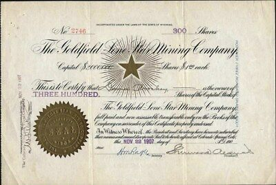 Goldfield Lone Star Mining Co Of Nevada, 1907, Uncancelled Stock Certificate