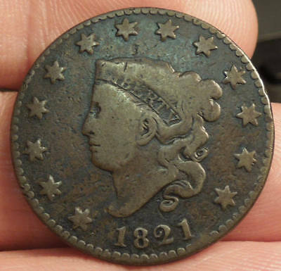 1821 Matron Head Large Cent - Key Date - Nice Color & Detail - Nice Coin!!