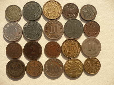 Lot of 20 Empire and Weimar Germany Coins - all pre World War Two