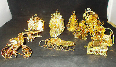 Danbury Mint Gold Christmas Ornament Collection 12 Ornaments