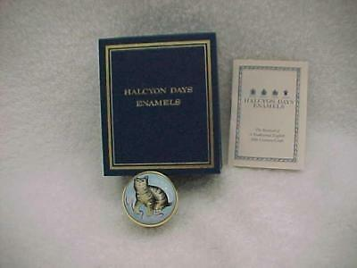 Halcyon Days Raised Cat Enamel Box -- MINT and in Box with Papers