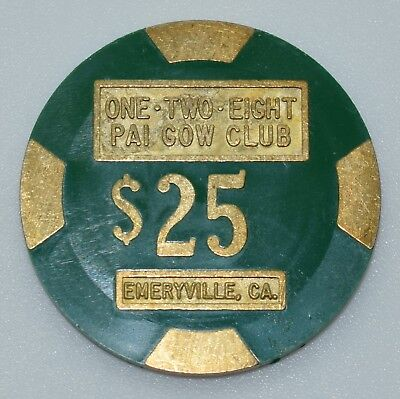 One Two Eight Pai Gow Club $25 Card Room Chip Emeryville California PMSC Brass