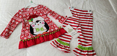 NWT Rare Editions  Toddler Girl's Santa Penguin Outfit  Sz. 24 months NEW