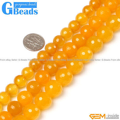 """Natural Stone Yellow Agate Faceted Round Beads Free Shipping 15"""" 8mm 10mm 12mm"""