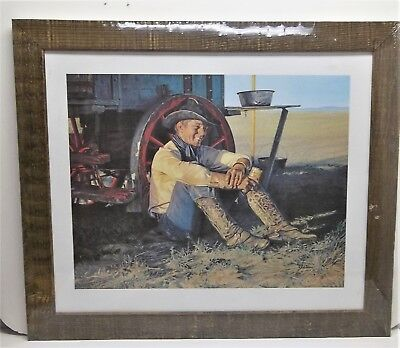 "Gordon Snidow 1982 ""Chuckwagon"" limited COORS Beer Cowboy Framed Print Plastic"