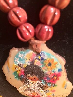 VINTAGE TED DeGRAZIA INDIAN GIRL HAND PAINTED OIL SIGNED PENDANT NECKLACE
