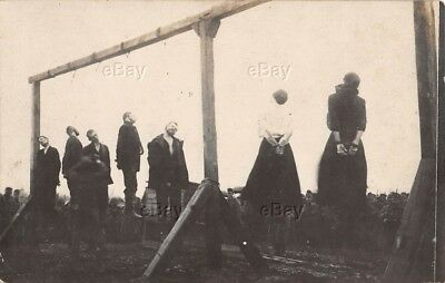 Antique Real Photo Postcard Mass Lynching Men Women Foreign Hanging Political Pc