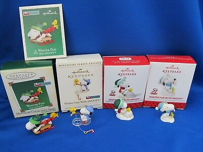Hallmark Christmas Ornaments Miniature Winter Fun With Snoopy 2005 2006 2013 20