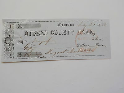 Antique Check 1855 Otsego County Bank Cooperstown New York Paper Money VTG Old