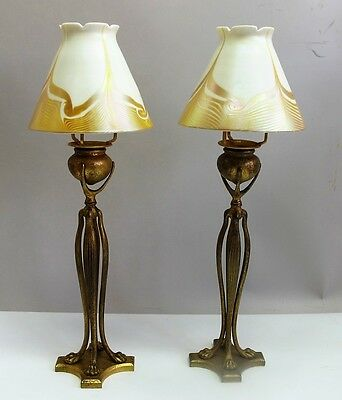 """TIFFANY STUDIOS  Pair of 16.5"""" Favrile Art Glass Candle Lamps  c 1910s  antique"""