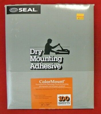 """Vintage NOS SEAL Dry Mounting Adhesive ColorMount Tissue 8"""" x 10"""" (100 Sheets)"""