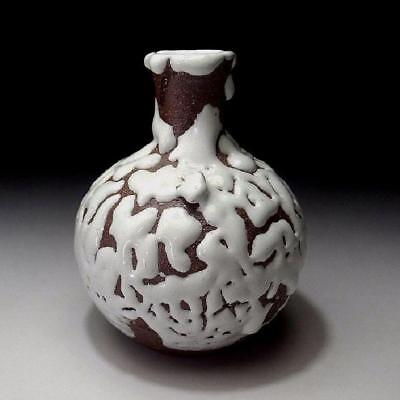 UK4: Japanese Bud Vase, Hagi Ware by Famous Potter, Seigan Yamane, White glaze